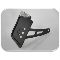 Supporto taga laterale di colore nero con doppia luce a led omologata