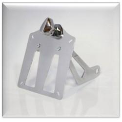 Supporto taga laterale lucida con sola luce targa in alluminio/acciaio cromato