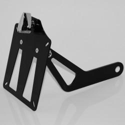 Supporto taga laterale di colore nero con sola luce targa in alluminio/acciaio cromato 24Cm