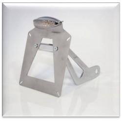 Supporto taga laterale lucida con doppia luce a led omologata  in alluminio/acciaio cromato 24Cm