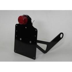 Supporto targa laterale di colo nero con faro tondo e lampadina omologata 24Cm