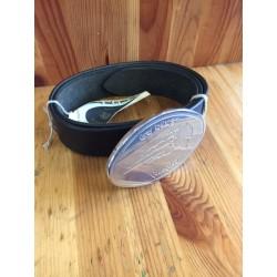 Cintura in vero cuoio con fibbia ovale cromata